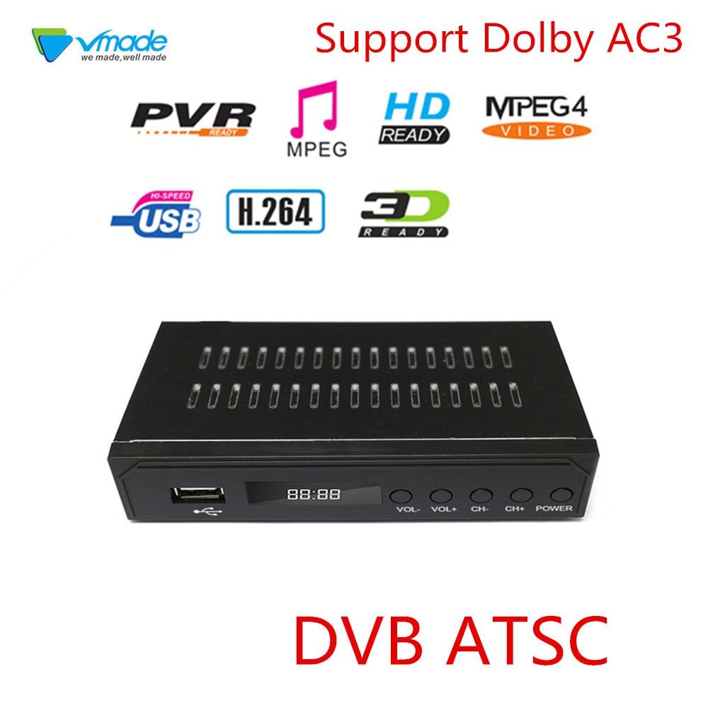 2019 DVB ATSC terrestre receptor HD sintonizador de TV Digital por cobrar MPEG-2/4 H 264 HD 1080p HD Set Top Box traje para México, EE. UU. Canadá