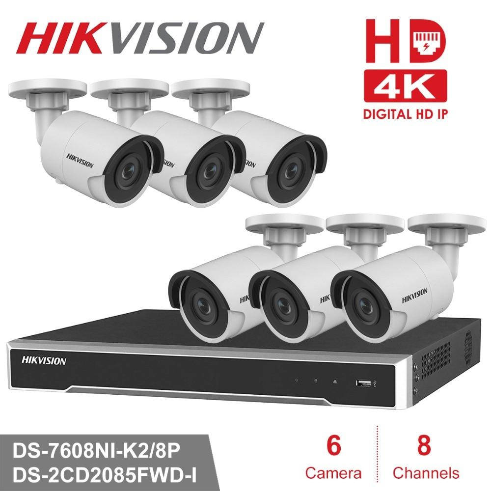 Hikvion 8CH 4K POE NVR Kit CCTV Camera System 8MP Outdoor Security IP Camera P2P Video Surveillance System Set HDD option