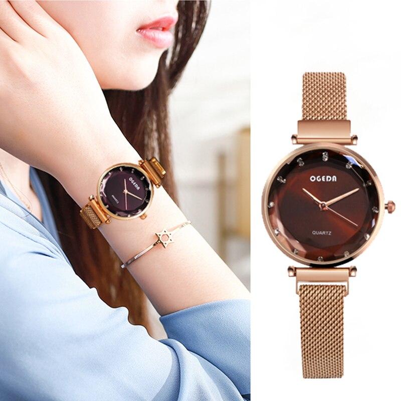 OGEDA Women Watch Moda Top De Luxo Da Marca Rosa de Ouro Malha De Aço De Quartzo Menina Relógios Relógio Relogio feminino Estilo Instagram 2019