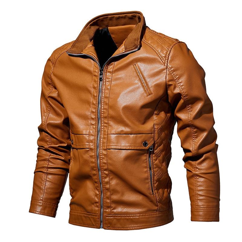 Мужская кожаная куртка весна-осень 2019, модные мотоциклетные мужские куртки-бомберы из искусственной кожи, куртки для мужчин, пальто для муж...