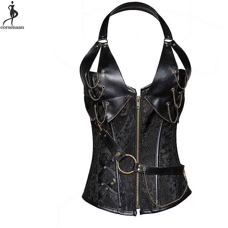 Halterneck Corset Steampunk Gothic Korse Plus Size 6XL Spiral Steel Boned Korsett For Women Metal Chain Ring Bustier T Panty Hot