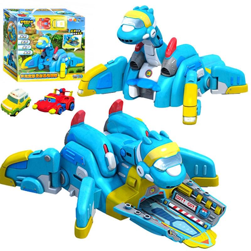 ¡Novedad de 2018! Base de lanzamiento Gogo Dino ABS con figuras de acción de sonido REX/PING/TOMO/VIKI juguetes de dinosaurio de transformación para niños