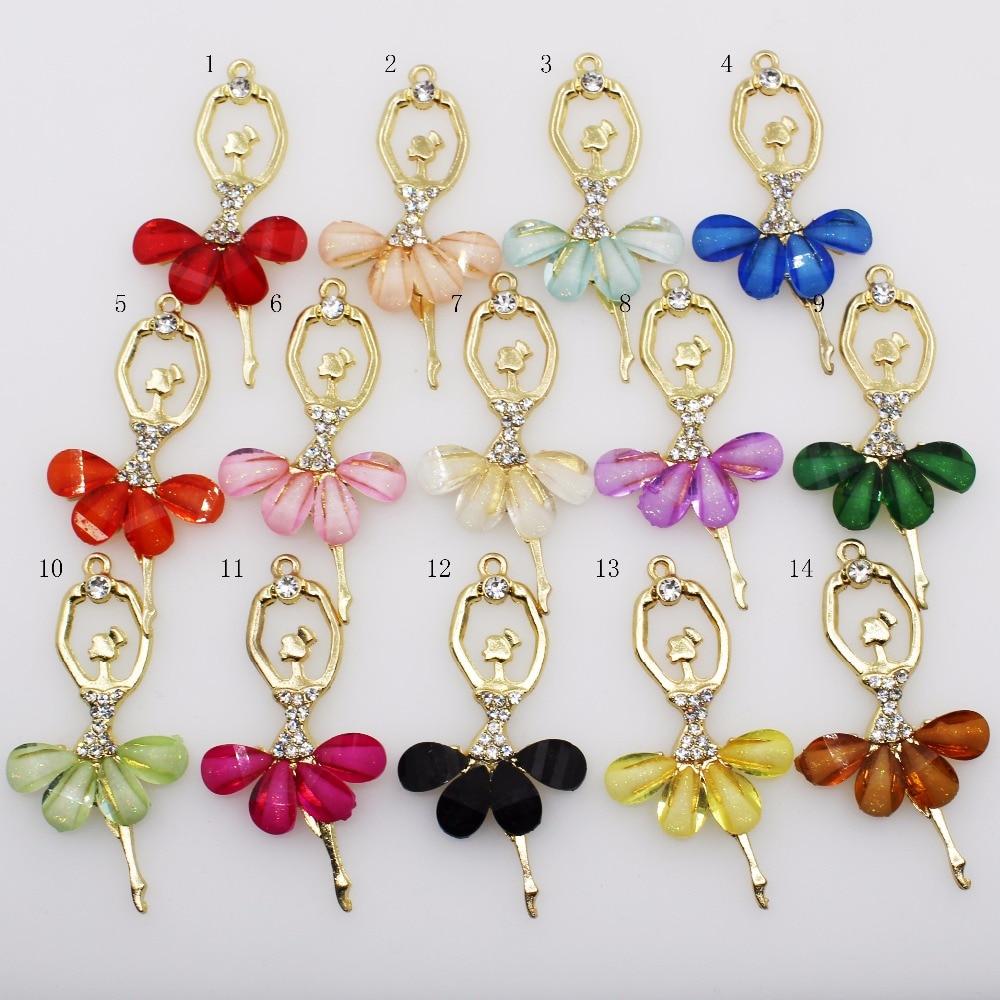 Lkeran moda criativa ballet menina pingente colar cor acrílico diamante cristal princesa dança colar meninas presente diário jewe