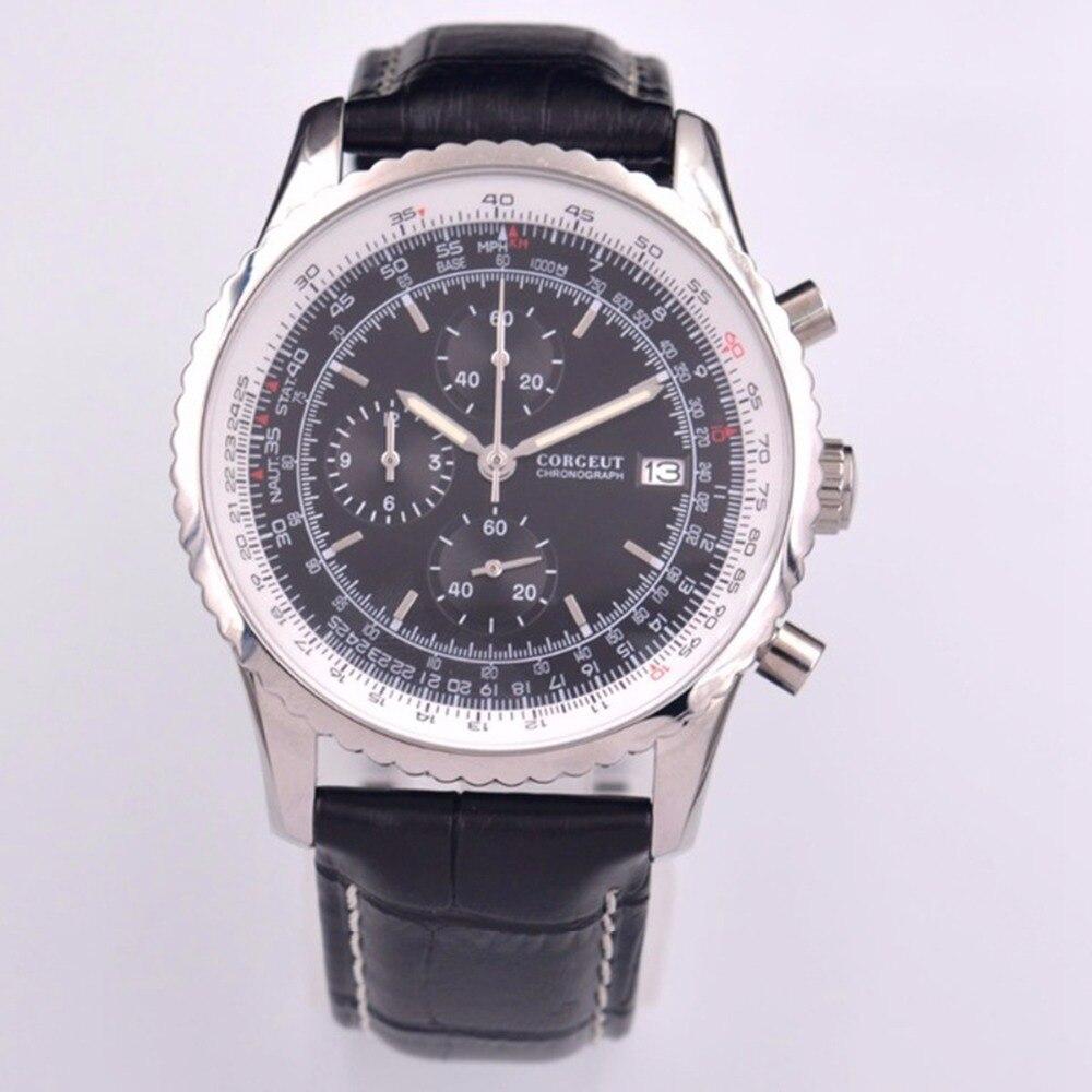 Corgeut-ساعة يد رجالية ، كرونوغراف كوارتز ، جلد ، مع التاريخ ، ذكر
