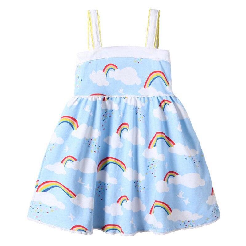 Детские платья на бретельках для девочек летнее платье без рукавов с принтом радужных облаков для маленьких девочек хлопковая детская одежда модное платье для От 3 до 12 лет
