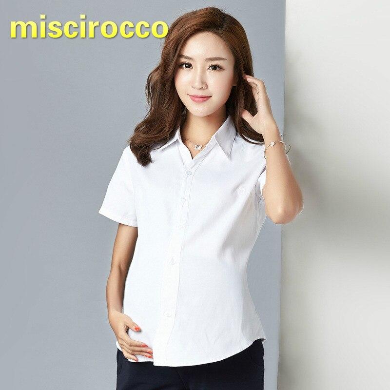 Camisas blancas para mujeres embarazadas de manga larga ropa corta de primavera y otoño ropa de maternidad ropa de trabajo profesional