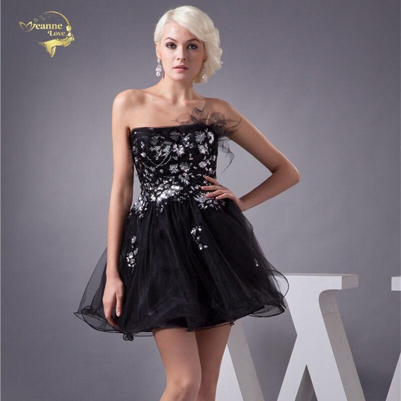 Jeanne Love-فستان كوكتيل مثير من الأورجانزا والتول ، ملابس رسمية سوداء مطرزة ، فستان زفاف صغير ، مقاس كبير ، JO002937 ، 2021