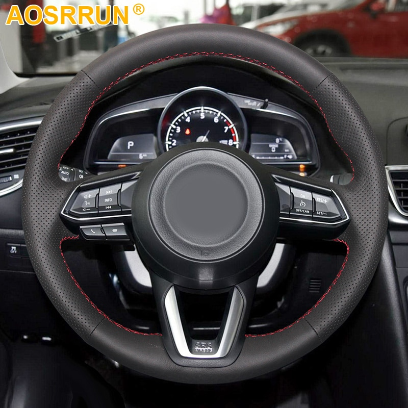 Черный кожаный прошитый вручную чехол рулевого колеса автомобиля для Mazda CX-3 CX3 CX-5 CX5 2017 2018 автомобильные аксессуары Чехлы
