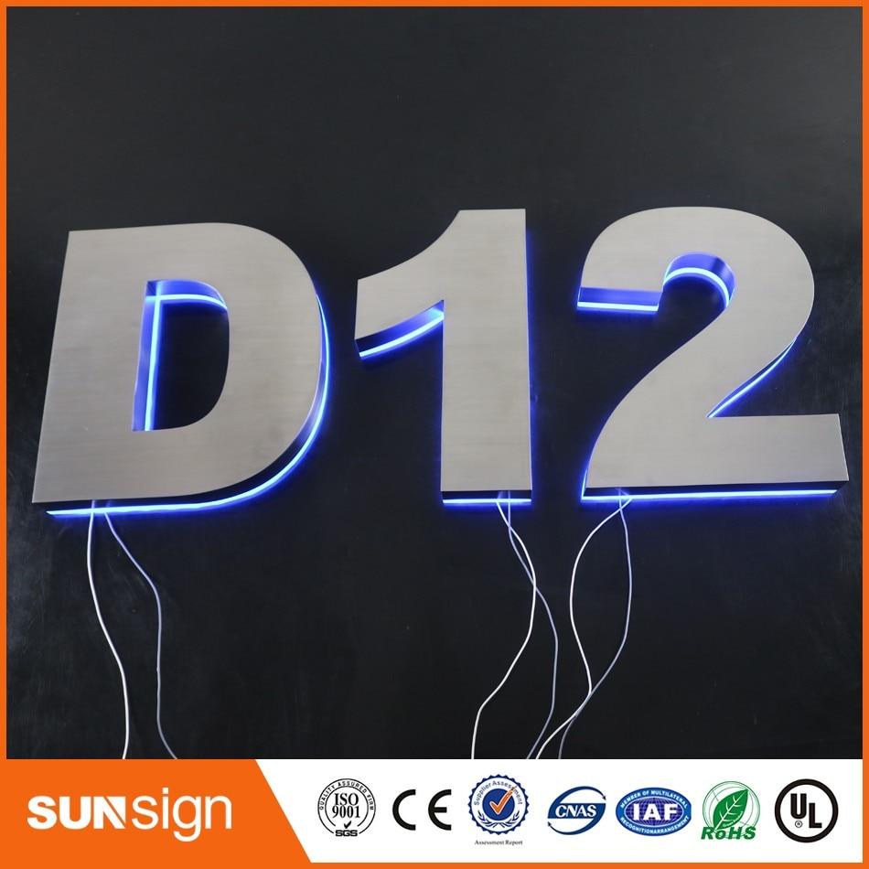 3D LED Backlit stainless steel Letter Business Signs Logo signage недорого