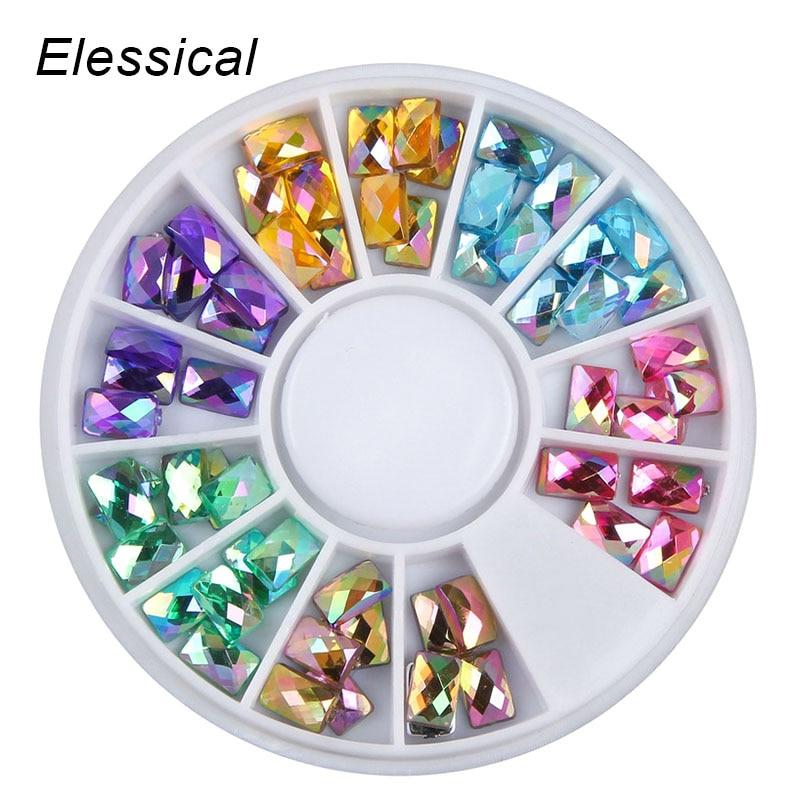 ELESSICAL 4*6mm colorido acrílico holográfico Rhinestones manicura rectangular decoración uñas Stud encanto Manicura en rueda WY1124