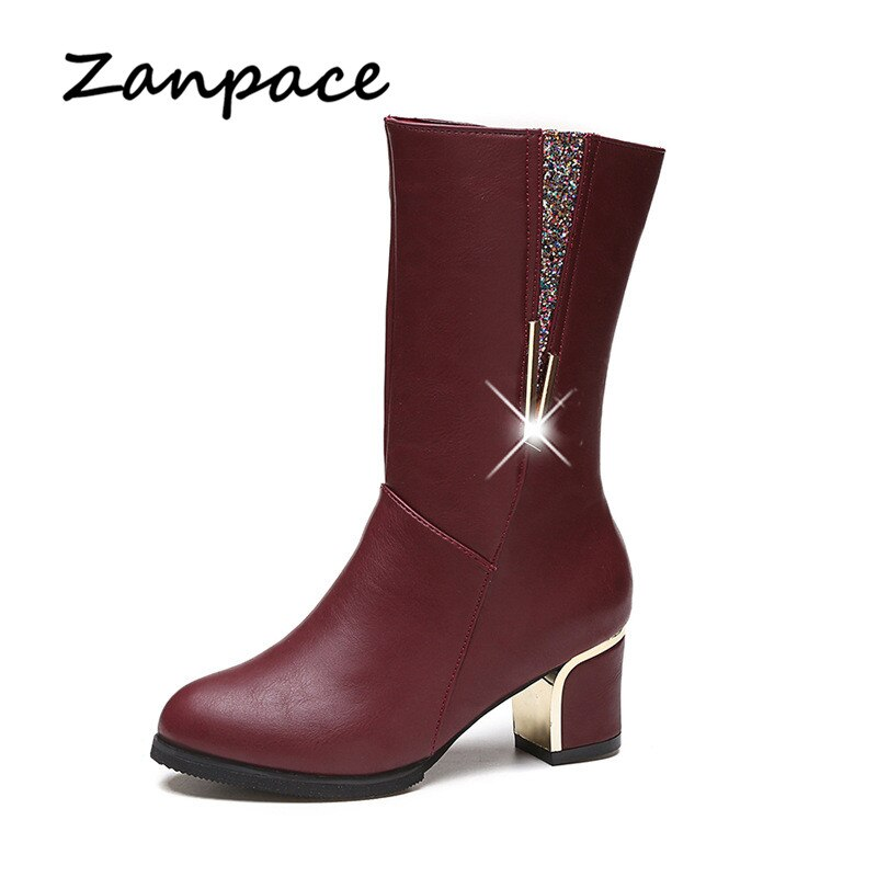 Zanpace 2019, botas de punta redonda de barril medio, diseño Original, cremallera lateral, zapatos de mujer, tacón, lentejuelas, botas neutrales perfectas para mujer