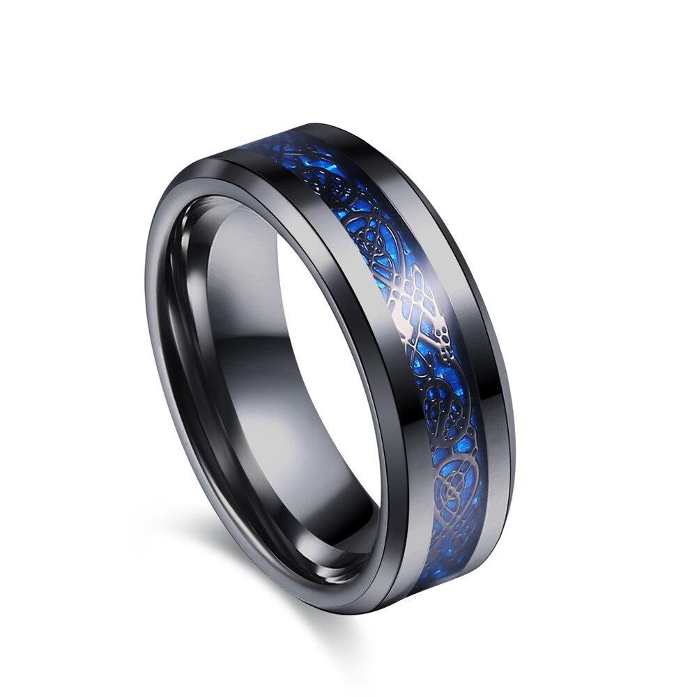Anillo de fibra de carbono de oro negro de acero inoxidable azul de Joya de hombres de motociclista Punk dragón sagrado Bague