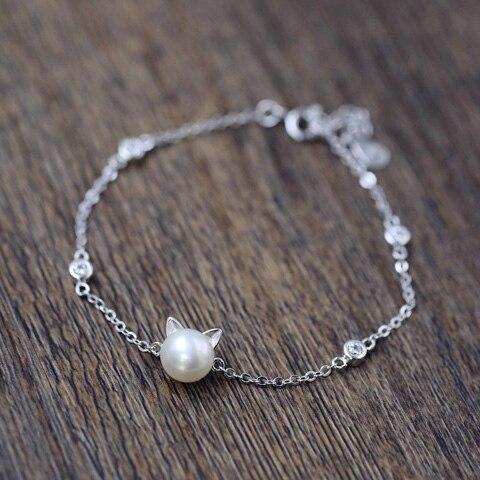 Pulseras de plata de ley 925 para mujer, niña, lindo y encantador gato, amuleto de cabeza, pulsera de regalo de cumpleaños de perlas naturales de agua dulce