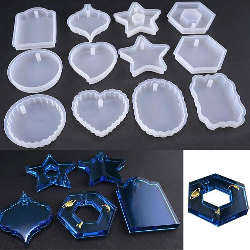 Nuevo molde de silicona transparente flor seca resina decorativa artesanía DIY colgante molde Moldes de resina epoxi para joyería