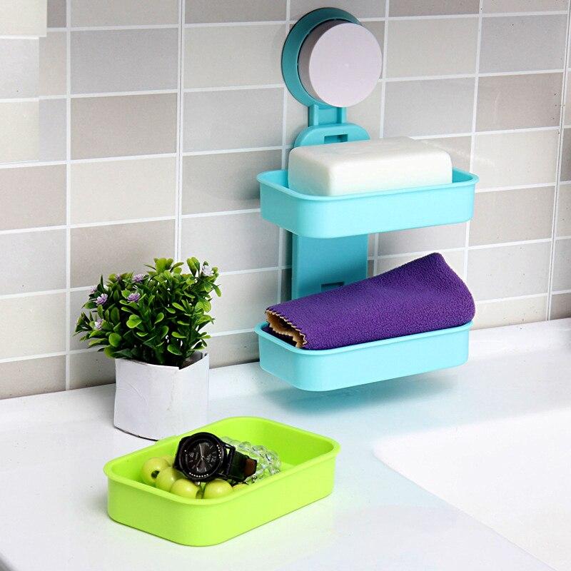 Nova dupla camada forte otário titular sabão abs material prateleiras de armazenamento do banheiro à prova dwaterproof água saboneteira acessórios do banheiro