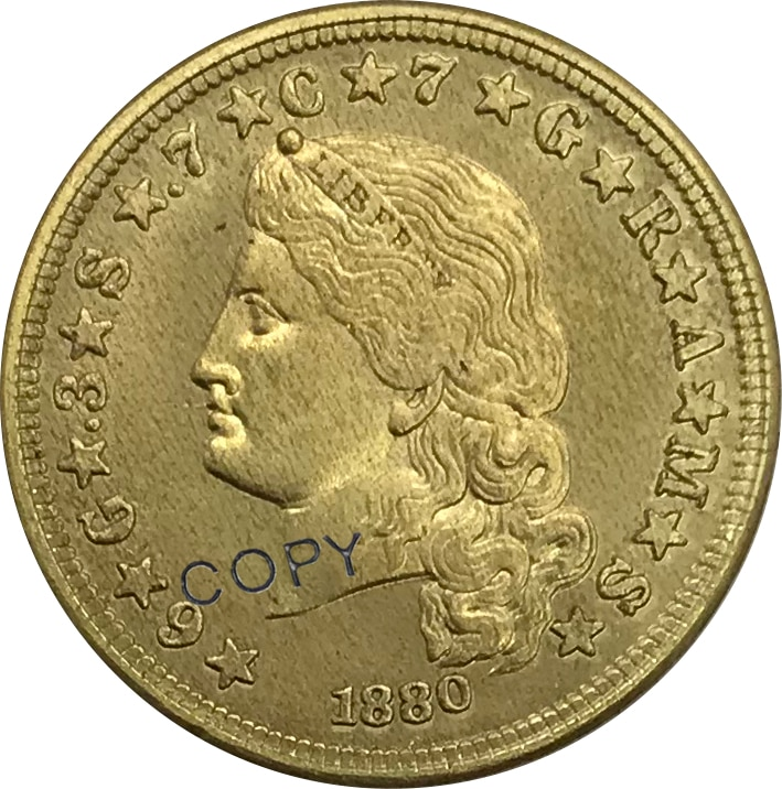 1880 Estados Unidos 1 Uma Stella Cabelo Fluindo 4 Quatro Dólares Moeda De Ouro de Bronze Colecionáveis Copiar Coin