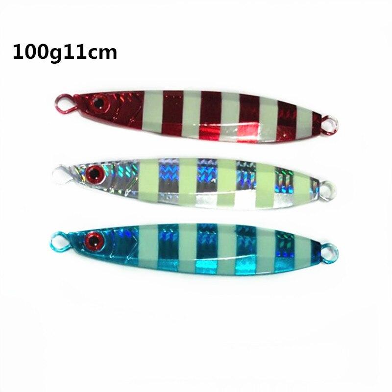 Señuelos de Pesca Ufishing Deep Sea 3 unids/lote cebo de pesca a rayas Metal Jigs 100g 11 cm