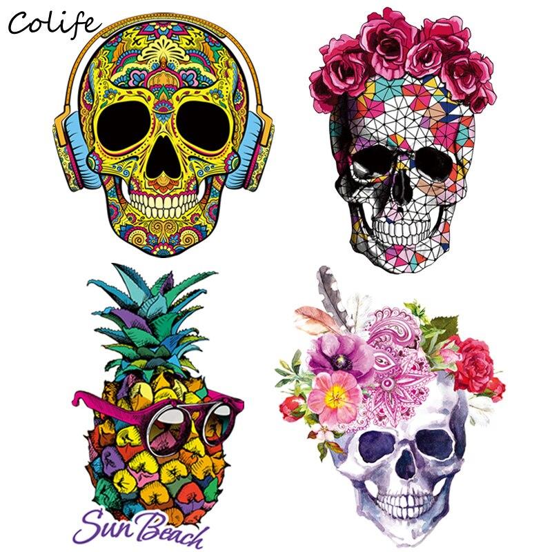 Модные нашивки ананасы, накладные декоративные наклейки в виде черепа, одежда для футболок, пальто West, 2 шт.