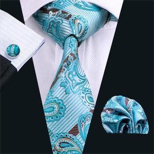 FA-570 2018 Fashion Men`s Tie Blue Paisley Silk Jacquard Woven Necktie Hanky Cufflinks Set For Business Wedding Free shipping