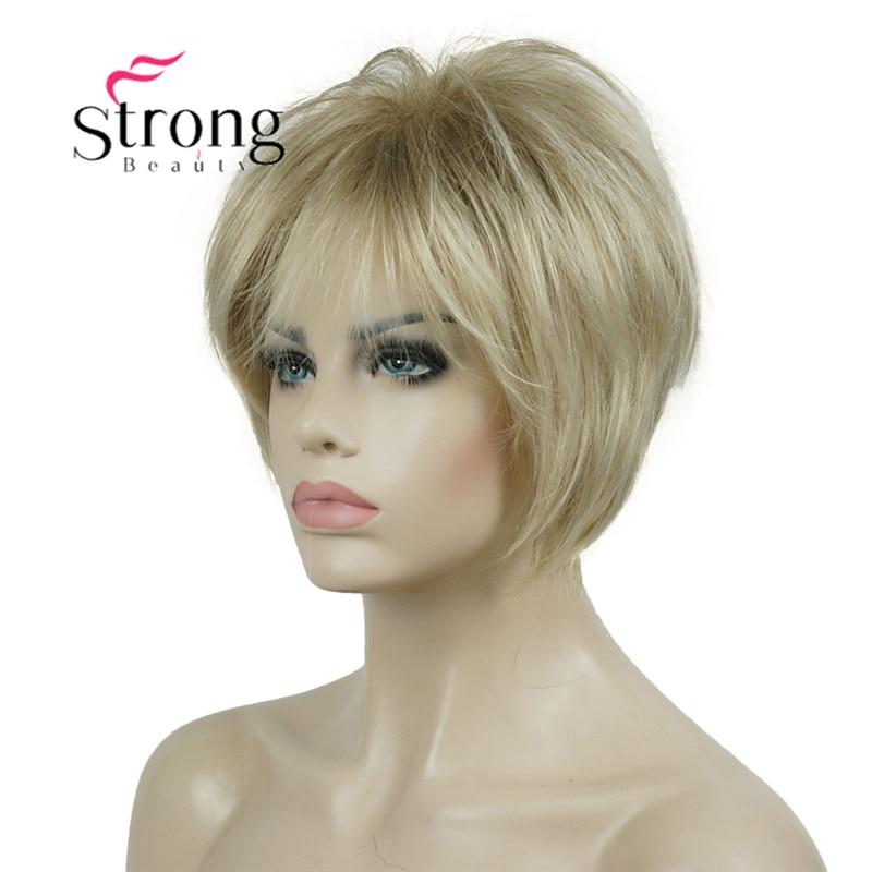 شعر مستعار صناعي قصير طبقات أشقر ، سميك ، منفوش ، دافئ ، جيد