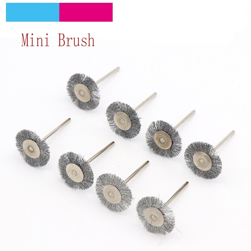 10 Uds 2,35/3mm Shank Mini Acero inoxidable rueda de alambre cepillos amoladora pulidor giratorio accesorios de taladro para dremel cepillo Set
