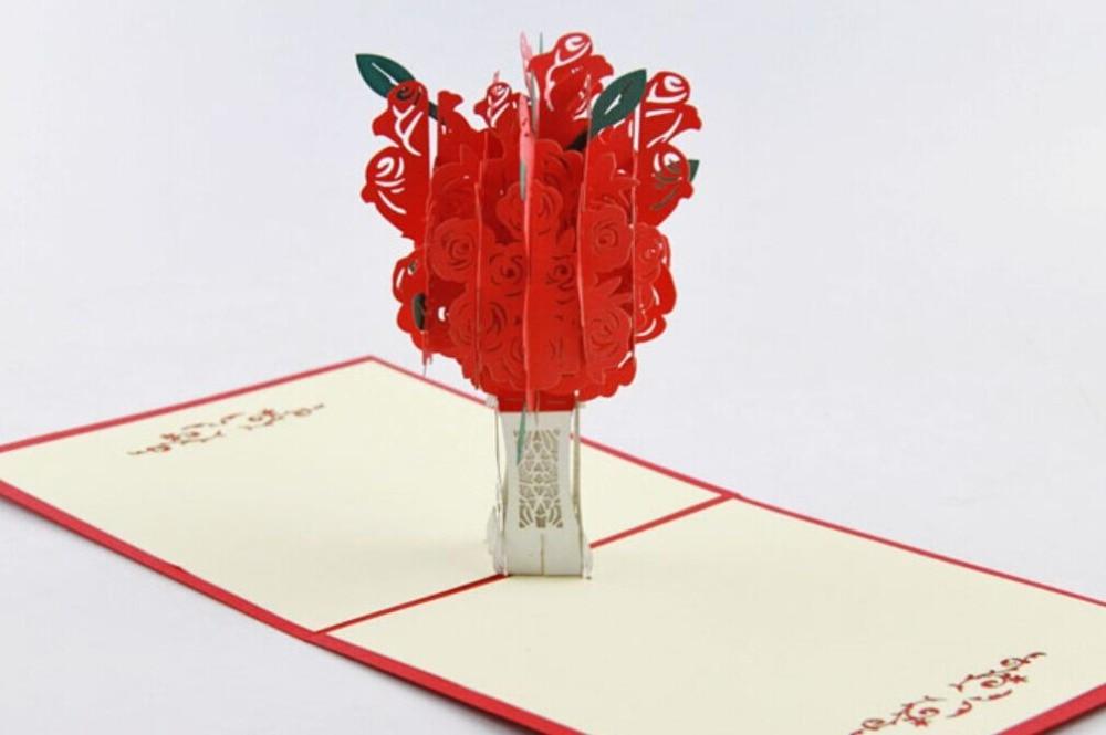 Tarjeta pop up de árbol Rosa rojo/tarjeta 3D kirigami/tarjeta de felicitación hecha a mano envío gratis