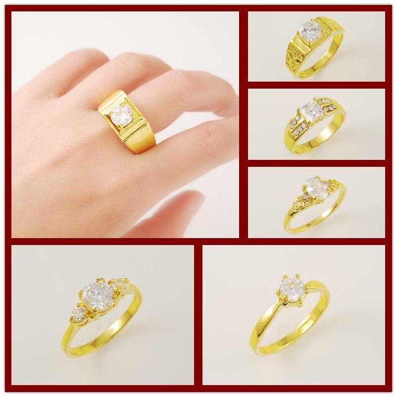 Anillos de oro puro de 24K para hombres y mujeres, joyería de cadera para fiestas de cóctel, 6 estilos, Tamaño 7/8/9/10, anillos de color amarillo dorado, accesorios