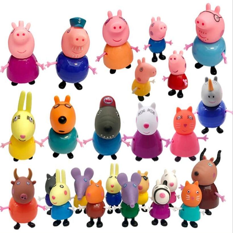 25 pçs/set peppa pig série de papel george, mãe, figura de ação, modelo pelucia, brinquedos, crianças, presentes