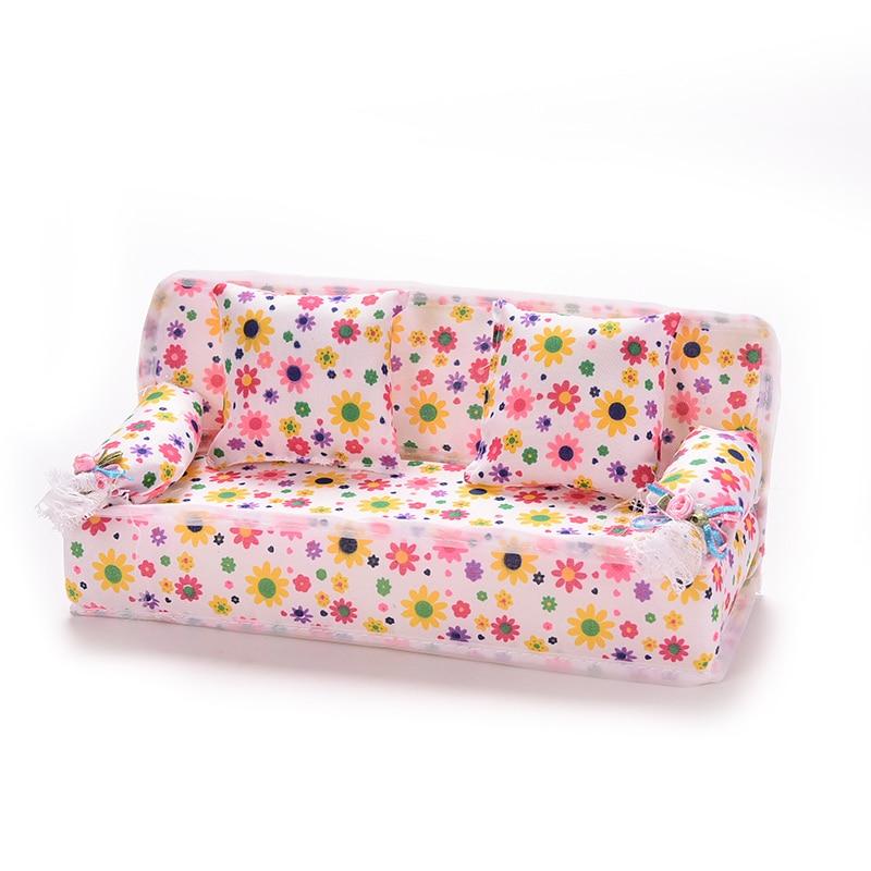 Mini sofá flor 20cm sofá + 2 cojines accesorios para casa de muñecas