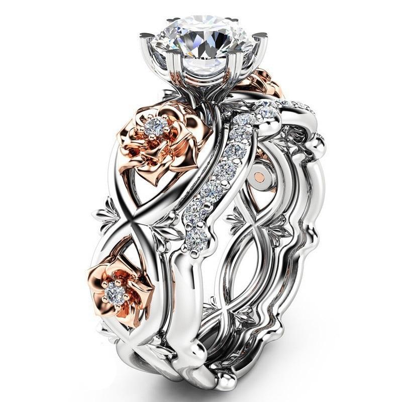 ¡Novedad de 2018! 2 uds. De joyas de cristal austriaco de Beiver, Zirconia cúbica, anillos florales para bodas para mujeres, envío gratis
