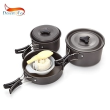 Desert&Fox Outdoor Cookware 2-3 Person Picnic Tableware, Portable Pot, Pan, Bowl Set Backpacking Hinking, Travel Tools