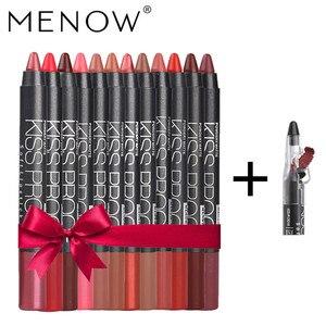Набор для макияжа Menow, 12 цветов в упаковке, водостойкая помада, подарок, 1 шт. точилка для карандашей, Профессиональный матовый набор для маки...