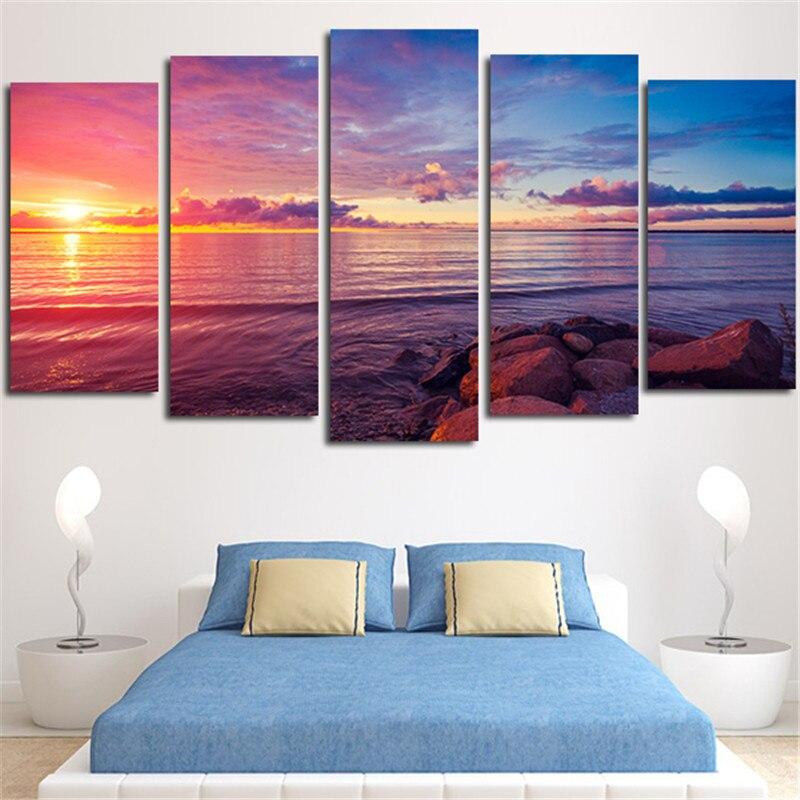 5 uds., arte de pared sin marco, cuadro Modular, piedra de imagen Is Land Sunset, Pinturas Modernas, decoración del hogar, sala de estar, impresión en lienzo