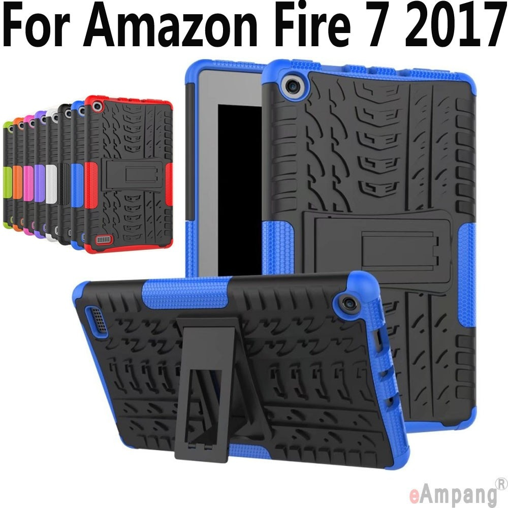 Funda para Amazon Fire 7 2017, Funda con patrón de neumático para tableta, Funda armadura de silicona para niños, carcasa para Amazon Fire 7,0 2017, Funda