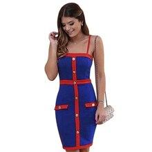 Seamyla Women Bandage Dresses New Vestidos 2020 Bodycon Celebrity Party Dress  New Blue Summer Sleeveless Night Out Club Dress