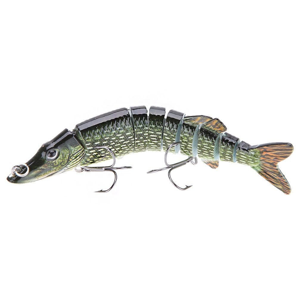"5 ""12.5cm 20g Fishing Lure Multi Articulated 9-segement Pike Muskie Swimbait Crankbait hard fish bait with two Triple hook"
