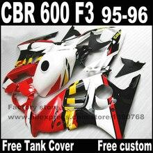 Tampa do tanque + carenagens de plástico kit carenagem para HONDA CBR600 F3 1995 conjuntos de carroçaria 1996 CBR 600 95 96 preto branco vermelho YP70