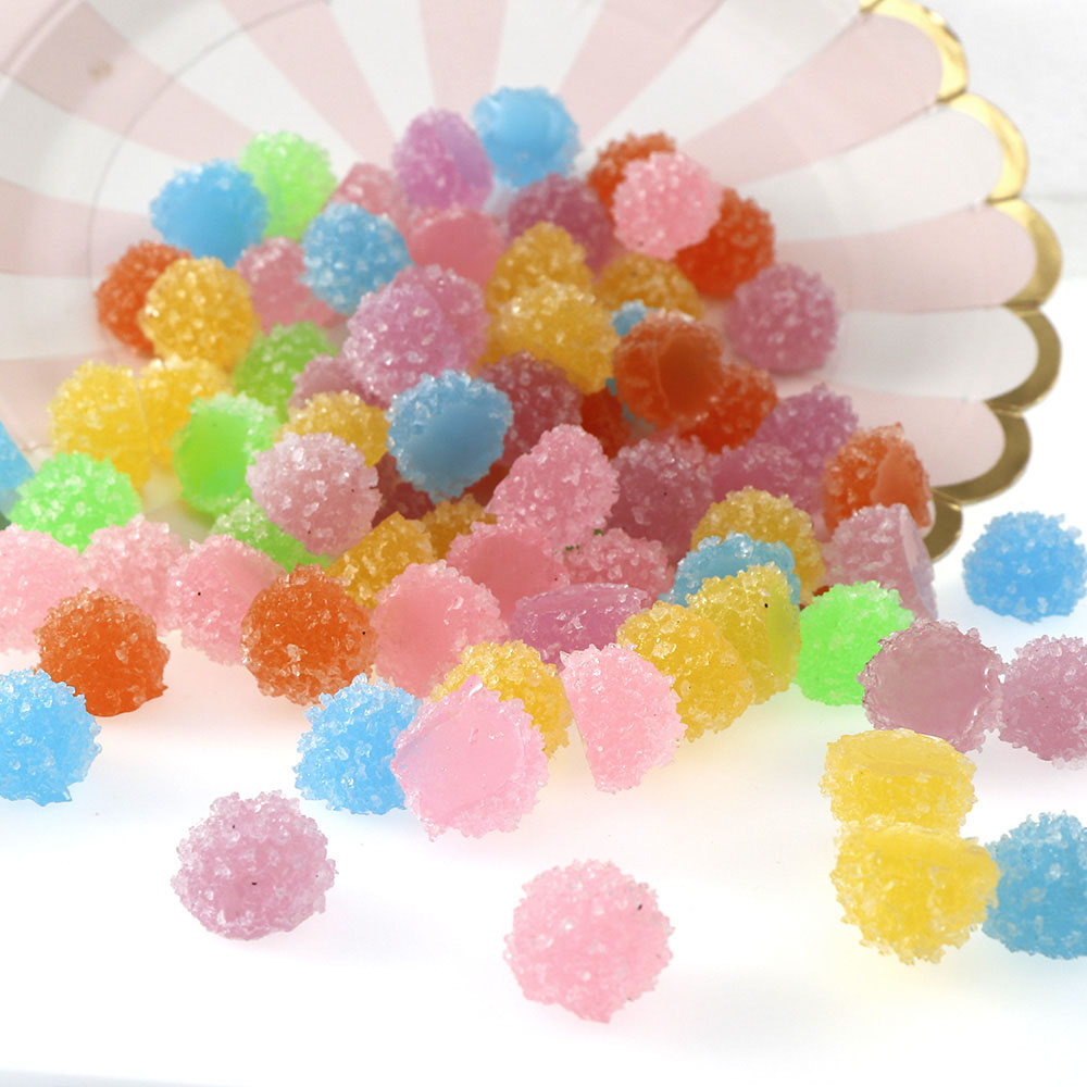 16MM 10Pcs/set Cute Candy Color Soft Fake Sugar Round Shape Resin Cabochon Flatback Simulation Food DIY Decoration Crafts