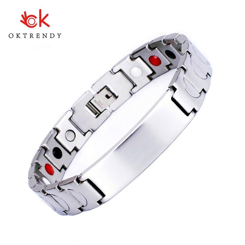 Pulsera de identificación de acero inoxidable con logotipo personalizado de Oktrendy