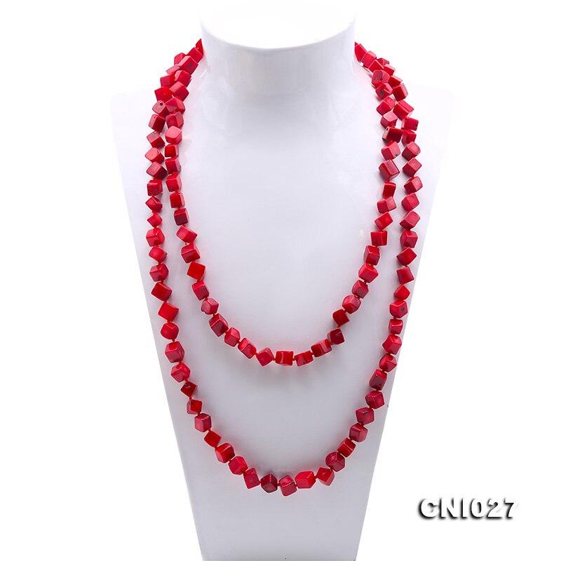 JYX элегантный 7 9 мм кубик красный коралл ожерелье из натурального драгоценного