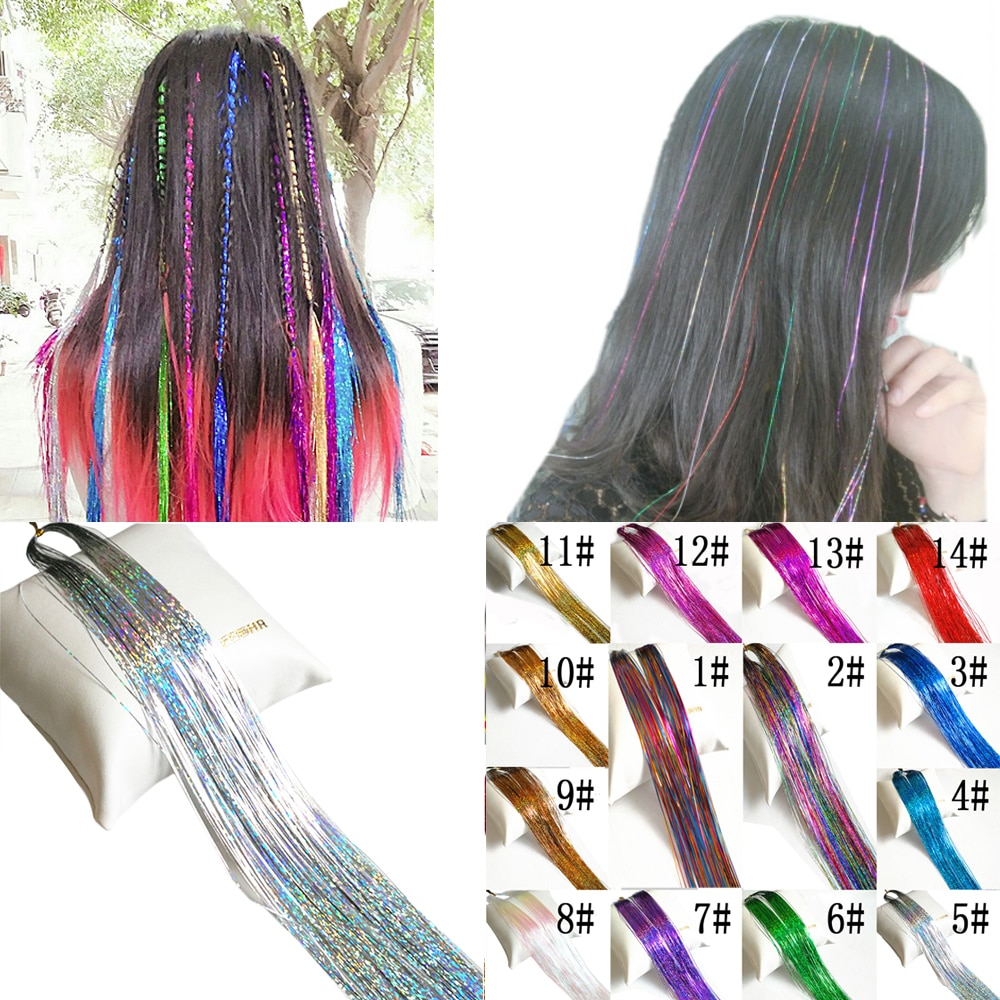 OLD STREET 1pcs/lot 150 Strands Hair Tinsel Sparkling Hair Extention Strands For Women's Accessories