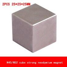 2 STKS 25*25*25mm cube blok magneet Super sterke zeldzame aarde neodymium magneten N45 N52
