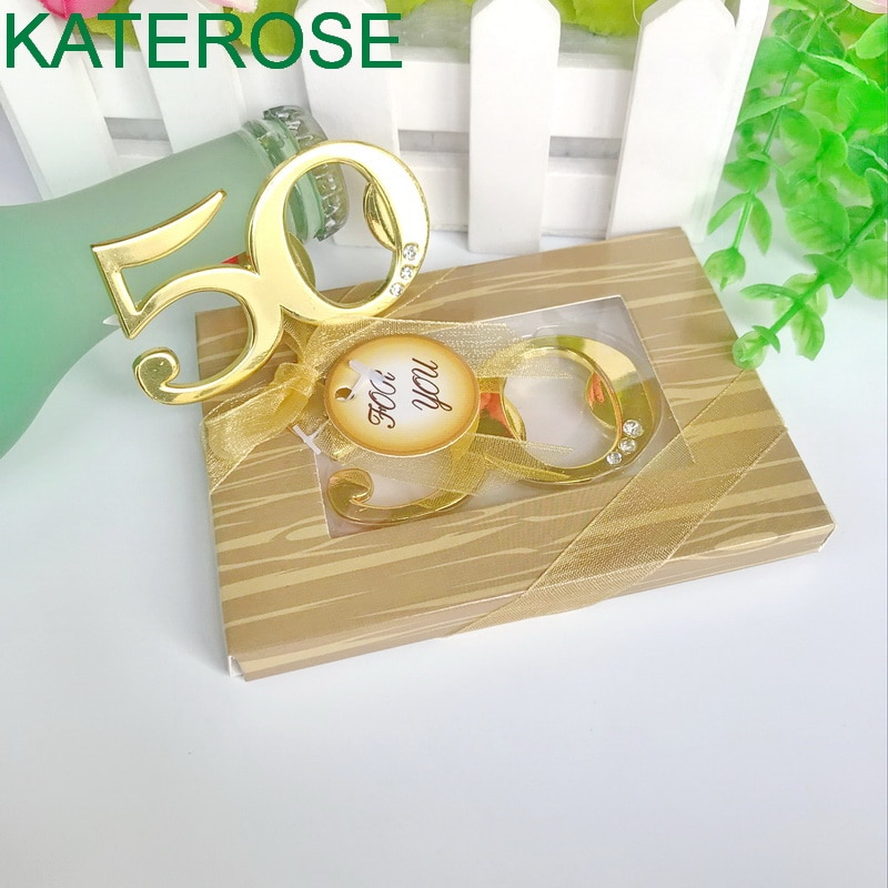 12 Uds oro Digital 50 abridores de cervezas 50th diseño de oro de boda abridor botella y fiesta bolsa relleno favores