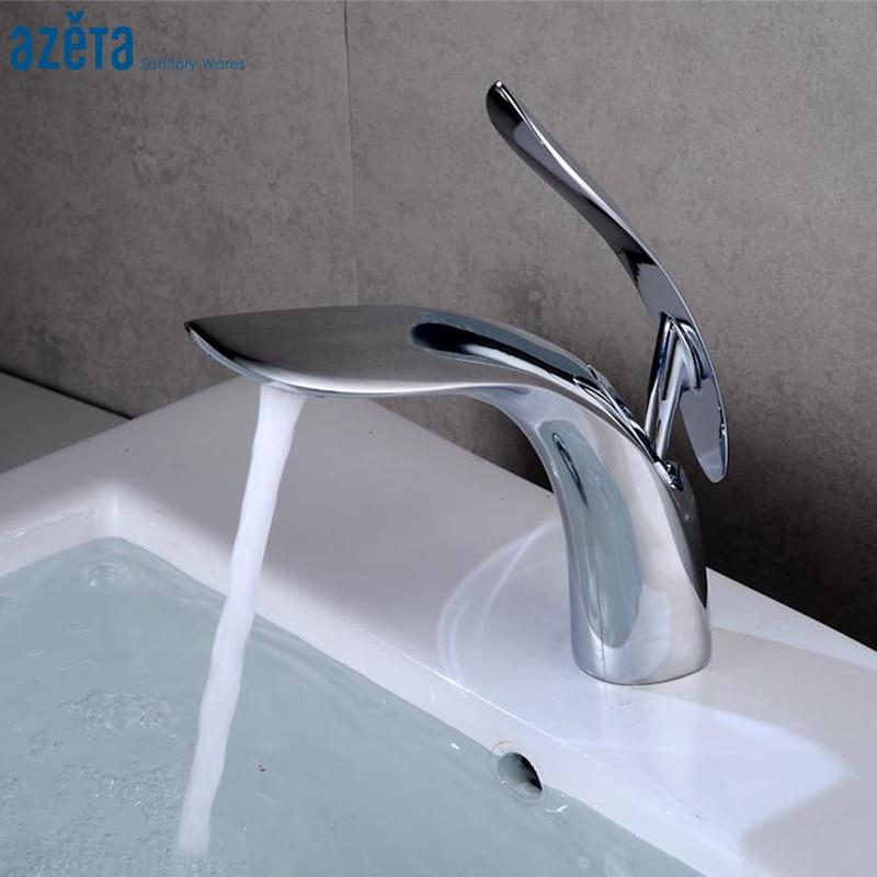 Grifos para lavabo de baño contemporáneo Azeta, de latón cromado, grifo mezclador para lavabo, grifo para lavabo montado en cubierta de baño AT6606