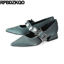 Zapatos de tacón alto japoneses anómala gris con punta estrecha 2018 Mary Jane talla 4 34 bloque de Metal bombas perla señoras satén vestido