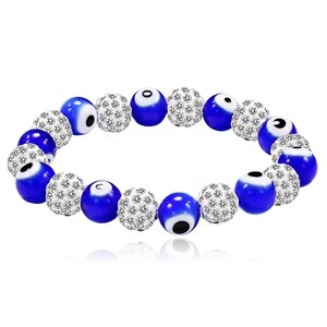 Blue Bracelets Unique Glaze 8mm Eyes Beads Elastic Fashion Bracelet Rhinestone Copper Small Balls With Crystals Wrist Chain Hot