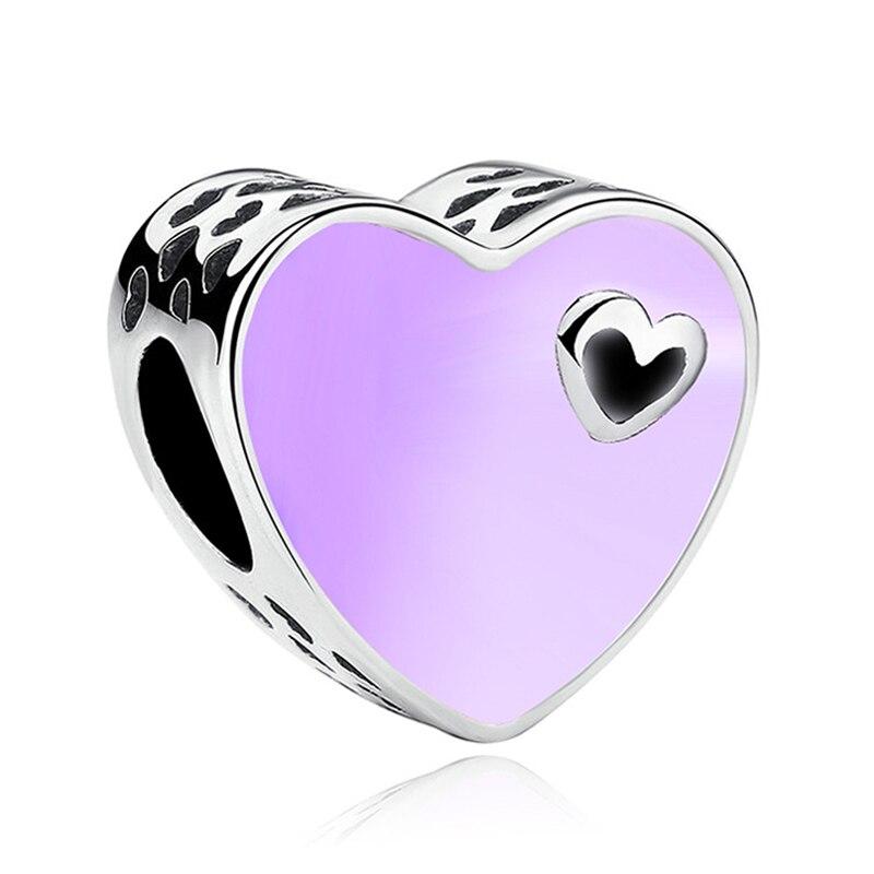 Valentine Silver Purple Enamel Heart European Bead Charm Fit Pandora Bracelet Necklace Accessories Bead Jewelry Making