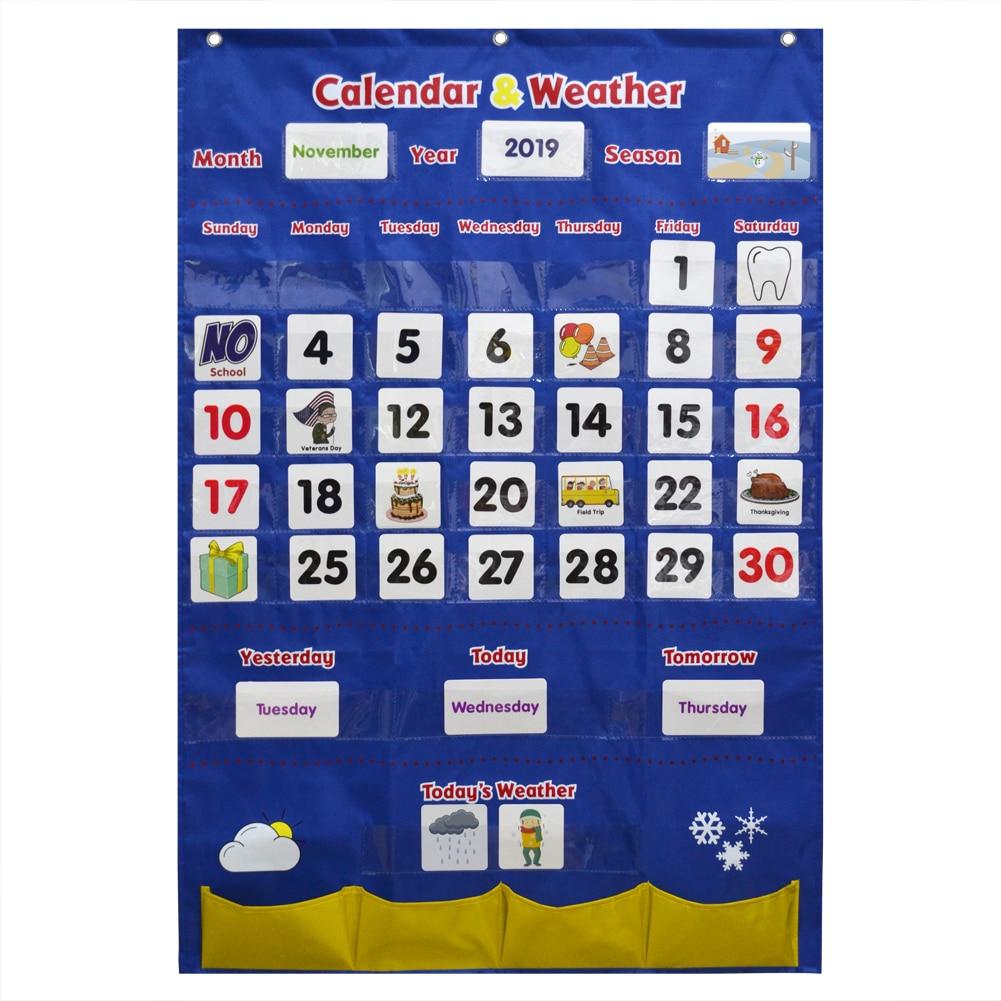 Calendario preescolar Godery 2019-2028 y juego de gráficos de bolsillo del tiempo para el aula de jardín de infancia para niños