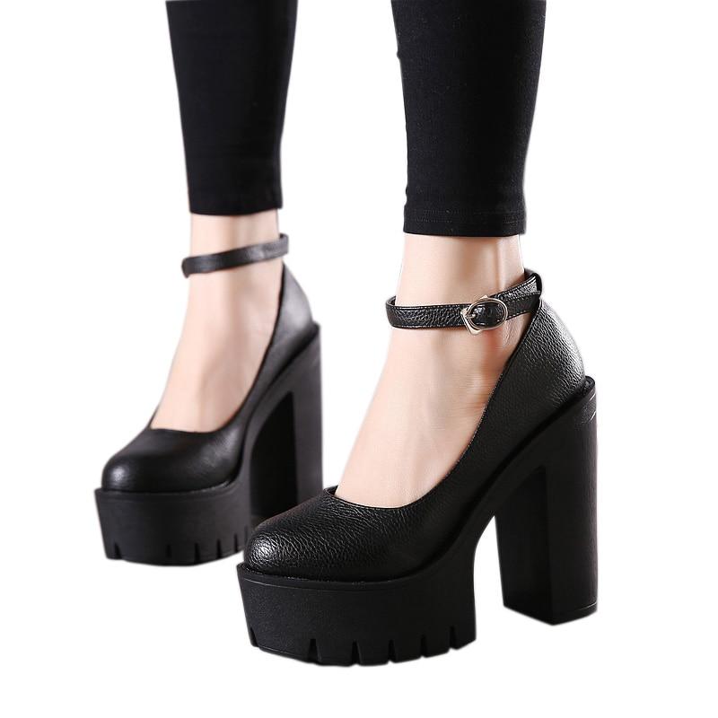 Gdgydh 2021 new spring autumn casual high-heeled shoes sexy ruslana korshunova thick heels platform pumps Black White Size 42