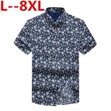 8XL 6XL 5XL 4XL Men Summer Shirts Bohe Vintage Causal Floral Short Sleeve Linen Basic Shirt Blouse Tops camisas hombre Plus Size